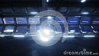 Couloir futuriste de l'espace, tunnel vue de vol de la terre Animation 4k cin?matographique clips vidéos