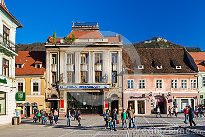 Council Square in Brasov, Romania Editorial Stock Image