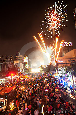 Count down New year 2012 in Bangkok,Thailand. Editorial Stock Photo
