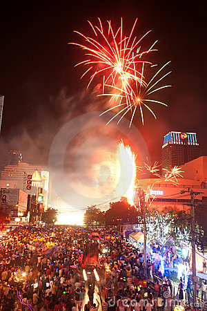 Count down New year 2012 in Bangkok,Thailand. Editorial Image