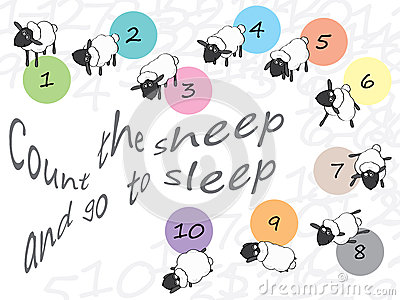Count the sheep and go to sleep Vector Illustration