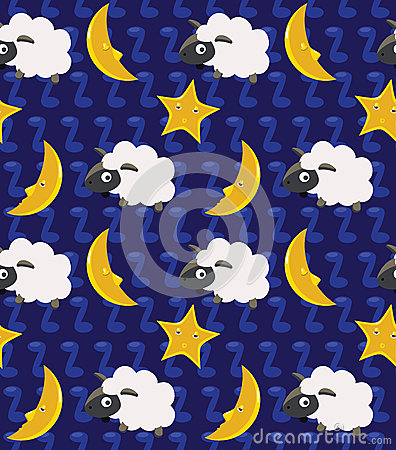 Free Count The Sheep And Moon Seamless Background Royalty Free Stock Photography - 33773617