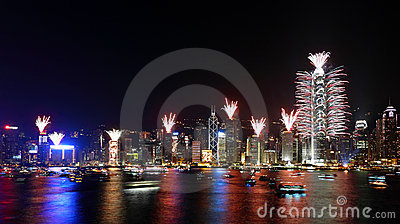 Countdown Fireworks Show in Hong Kong Editorial Photo