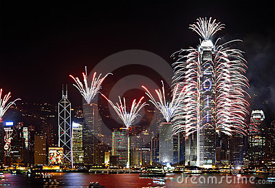 Countdown Fireworks Show in Hong Kong Editorial Image