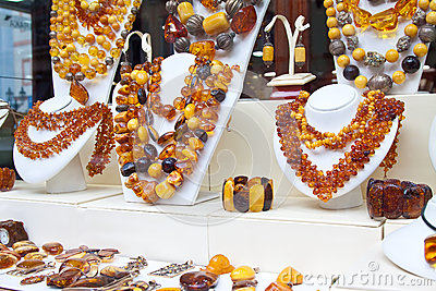 Counter with amber jewelry
