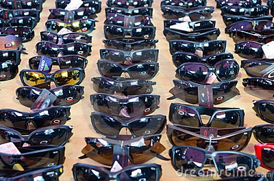 Counterfeit sun glasses at the market Editorial Stock Image