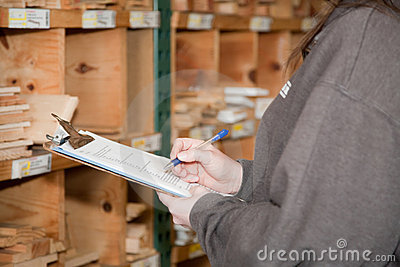 Counting inventory products at a lumberyard