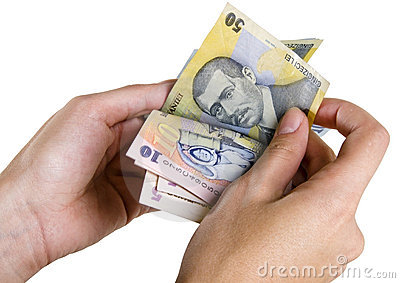 Counting Romanian money with clipping path
