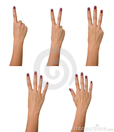 Counting woman hand