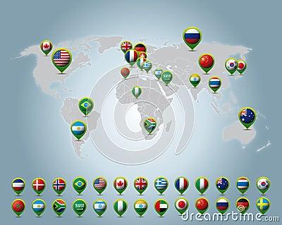 Countries 3D pins