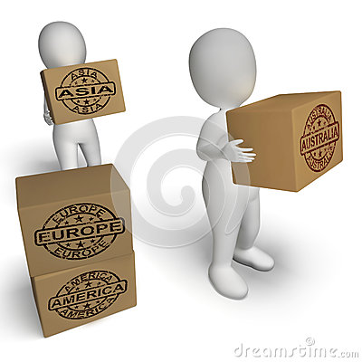 Free Countries Boxes Mean International Trade Exports Stock Photography - 38123102