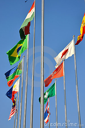 Countries flags flying