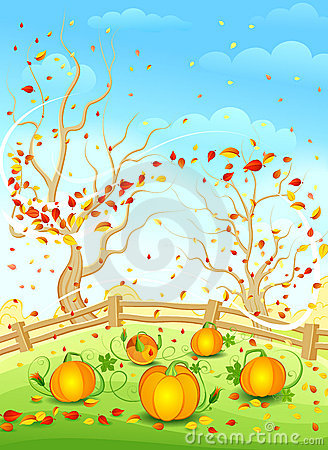 Country autumn illustration