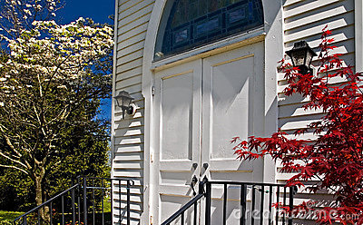 Country church door in spring