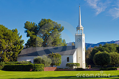 Country Church in Morning Light With Blue Sky