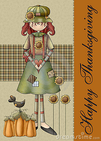 Country Fall Season Girl Thanksgiving Card