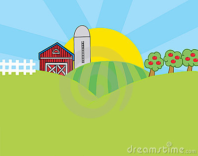 Animated Barnyard Scene Clipart 1