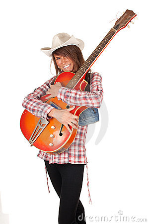 Country girl with electric guitar