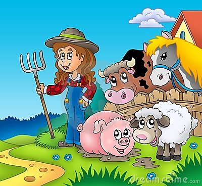 Country girl with farm animals