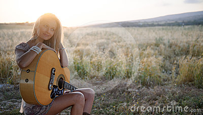 Country girl and guitar 3
