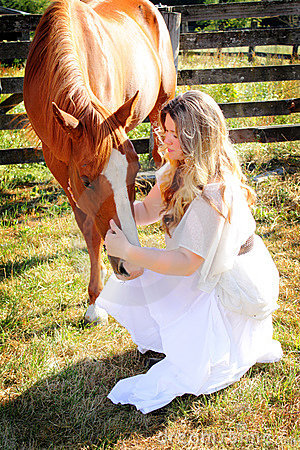 Country Girl Talks to Horse