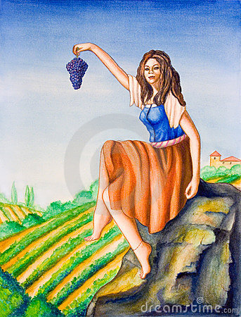 Country girl and vineyard