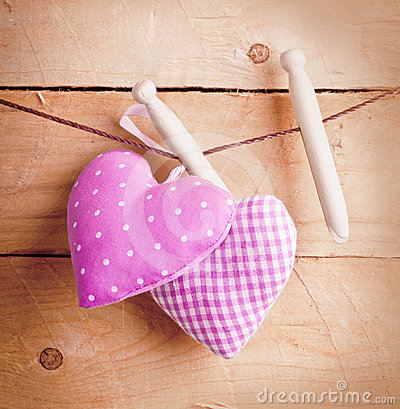 Country hearts on wooden pegs
