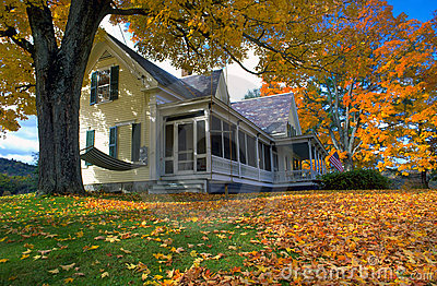 New Hampshire Home in Autumn