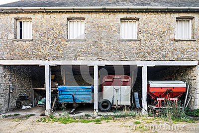 Country home with agricultural machines