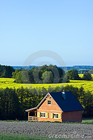 Country house in a field