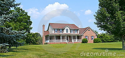 Country house and lawn