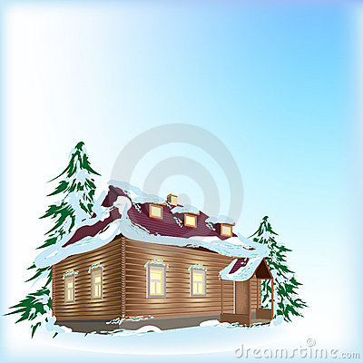 Country house in snow