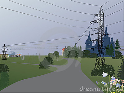 Country landscape with electric line