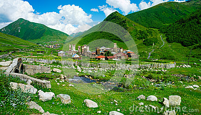 Country landscape in Svaneti