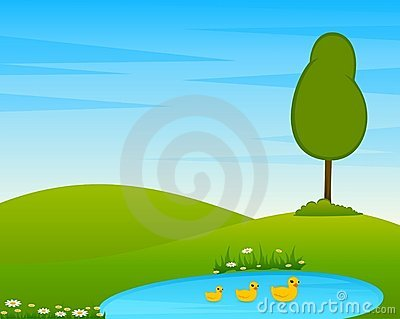 Country Landscape with tree and lake