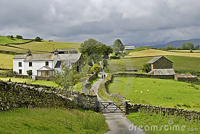 Country lane and farm