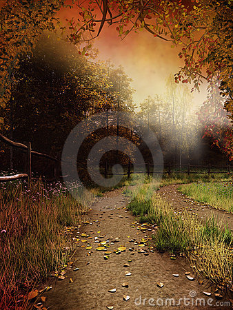 Free Country Lane With Leaves Stock Images - 15631714
