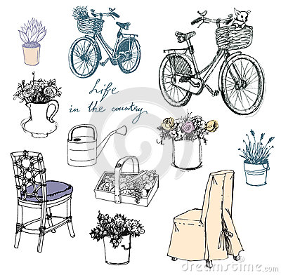 Free Country Life. Flowers. Furniture. Interior Element Stock Photos - 32490263