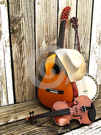 Country music background with stringed instruments.