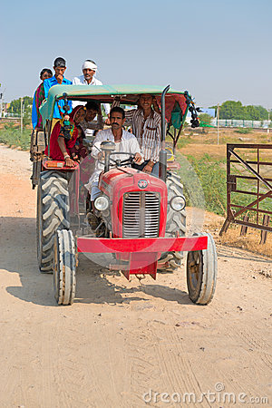 Country people travel by tractor, India Editorial Stock Image