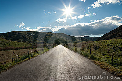 Country Road In Backlit