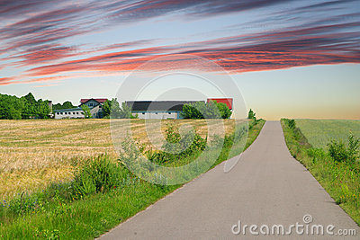 Country Road With Cloudy Sky in Europe