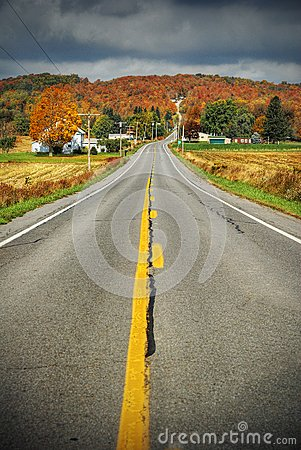 Country road with fall colors