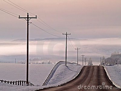 Country Road Into The Fog