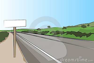 Country road with signal - Vector illustration
