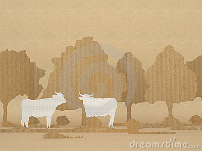 Country scene with cows and trees