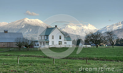 Country Scene Farm House in Winter