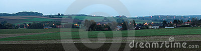 Country side panorama in twilight