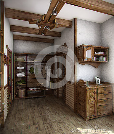 Country style bath house 3d render stock illustration for Examples of decorating styles