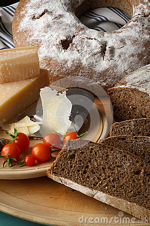 Country Style Rye Bread, Parmesan Cheese And Cherry Tomatoes